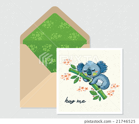 Vector set for design. Envelope and card with cute 21746525