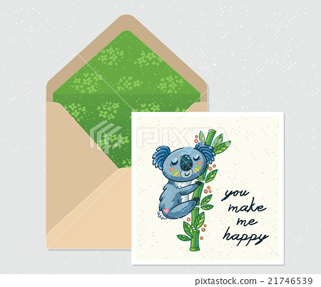 Vector set for design. Envelope and card with cute 21746539