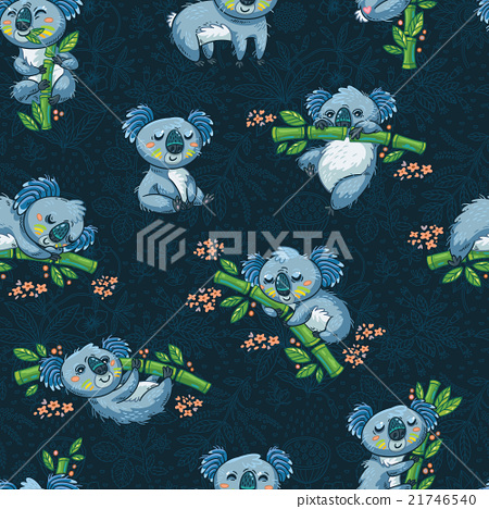Adorable seamless pattern with cute koalas in 21746540