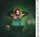 Beautiful witch making witchcraft in the dungeon 21757119