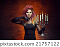 Beautiful witch making witchcraft in the dungeon 21757122