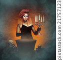 Beautiful witch making witchcraft in the dungeon 21757123