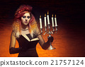 Beautiful witch making witchcraft in the dungeon 21757124