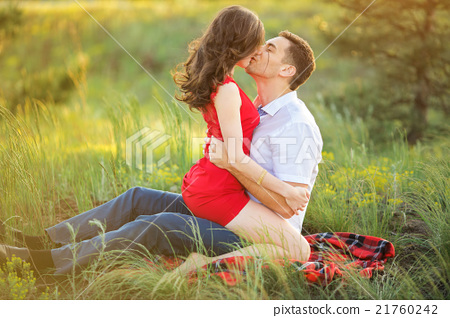 Hot Young Couple Kissing In Park Stock Photo 21760242 Pixta