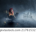 Beautiful witch making witchcraft in the dungeon 21761532