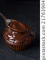 closeup of chocolate muffin 21763904