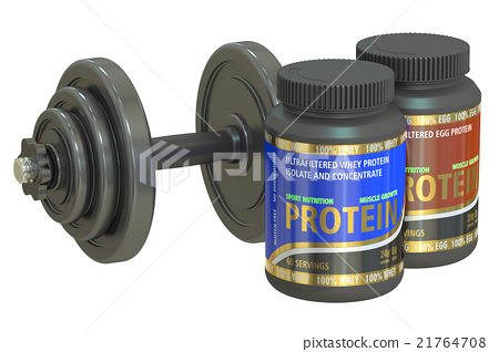 dumbbell and jars of protein, 3D rendering 21764708