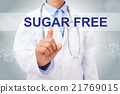 Doctor hand touching sugar free sign  21769015