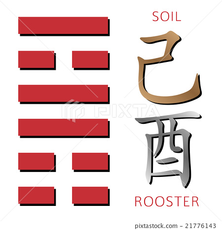Hexagram from chinese hieroglyphs. Soil, rooster 21776143