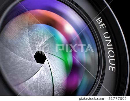 Closeup Digital Camera Lens  with Be Unique. 21777093