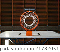 Indoor basketball hoop from below 21782051