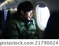 男人 飛機艙內 飛機 21790024