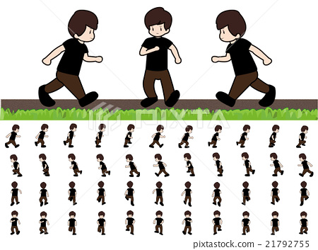 Man Frame Running Walk Sequence for Game Animation - Stock ...