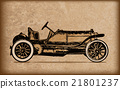 vintage classic car in old paper 21801237