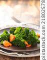 Steamed broccoli on plate. 21802578