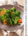 Steamed broccoli on plate. 21802580