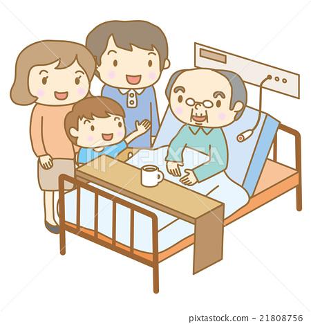 医院的老年人和有同情心的客人 21808756