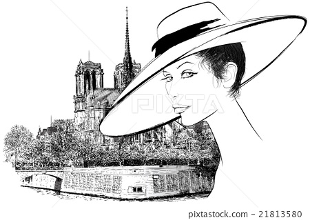 Woman nearby Notre Dame in Paris 21813580