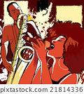 jazz singer and saxophonist on grunge background 21814336