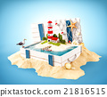 Cute lighthouse on the island in opened wooden box 21816515