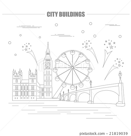 City buildings graphic template. UK. London. 21819039