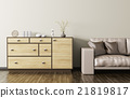 Wooden dresser and beige leather sofa 3d render 21819817