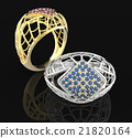 Rings with diamond and pave. 3D illustration 21820164