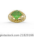 Ring with diamond and pave. 3D illustration 21820166