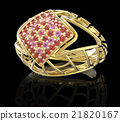 Ring with diamond and pave. 3D illustration 21820167