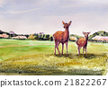 Sketch of Nara Park deer and Todaiji 21822267