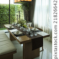 dining table with elegant table setting at home 21826642