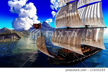 Pirate Ship And active volcano in 3d illustration 21830283