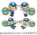 Postman Character is holding a Table Clock. 21830655