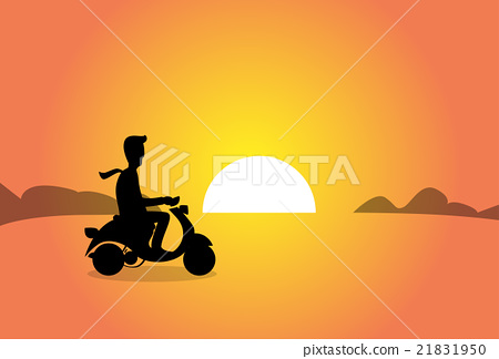 Stock Illustration: Business Man Silhouette Ride Electrical Scooter