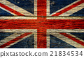 Great britain flag  on old wood background 21834534