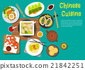 Traditional chinese dinner top view flat icon 21842251