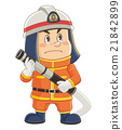 A comical cute person of a firefighter holding a fire hose Illustration | Mr. Iwata Masayoshi 21842899