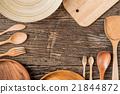 Rural kitchen utensils on vintage planked  21844872