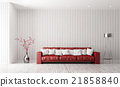 Modern interior of living room with red sofa 3d 21858840