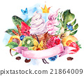 Watercolor background with soft Italian ice cream 21864009