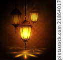 Intricate Arabic lamps with lights  21864017