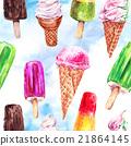 Watercolor ice cream seamless pattern 21864145