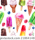 Watercolor ice cream seamless pattern 21864148