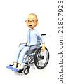 wheel-chair, sulking, an old man 21867928