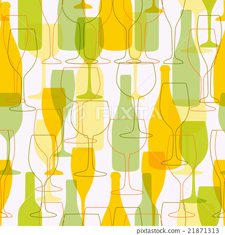 Seamless background with wine bottles and glasses. 21871313