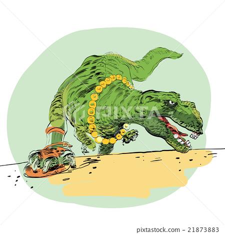 The evolution of men Tyrannosaurus dinosaur 21873883