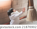 Asian child is praying at the shrine 21876902