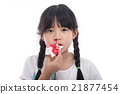 Asian girl with bleeding from the nose 21877454