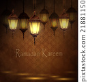 Intricate Arabic lamps with lights  21881150