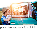 Group of teenage hipsters on a roadtrip, campervan 21881346